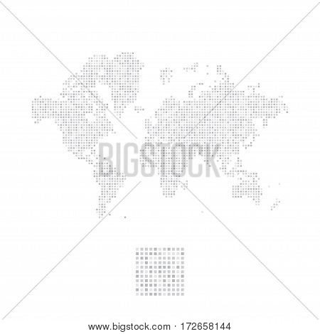 Abstract world map in a square dots. Flat vector illustration EPS 10