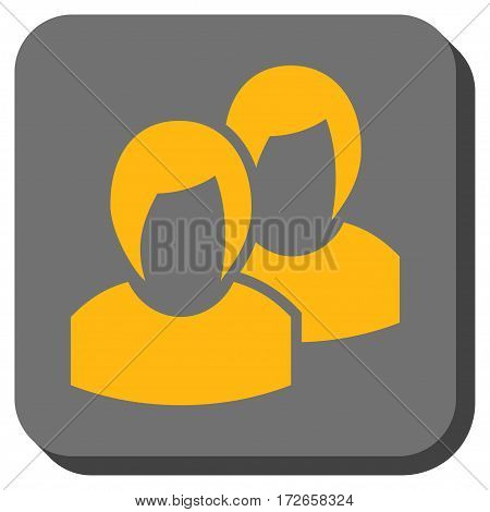 Women rounded button. Vector pictogram style is a flat symbol inside a rounded square button, yellow and gray colors.