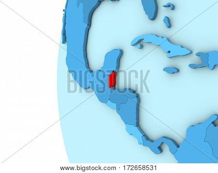 Belize On Blue Globe