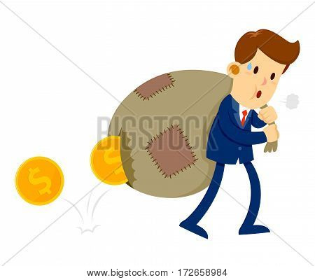 Vector stock of a businessman carrying patched bag of gold coin with a hole on it