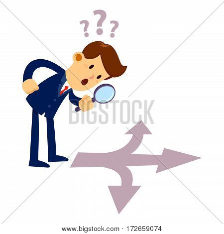 Vector stock of a businessman looking through magnifier glass inspecting a crossroad