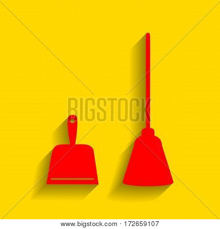 Dustpan vector sign. Scoop for cleaning garbage housework dustpan equipment. Vector. Red icon with soft shadow on golden background.