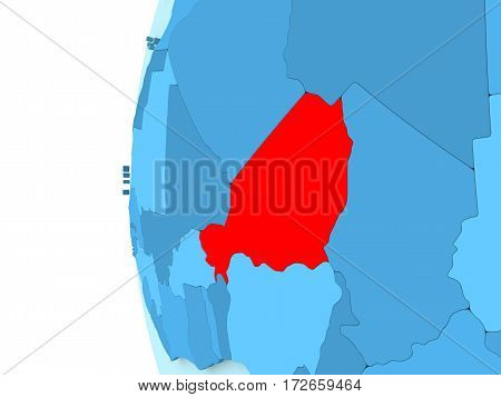 Niger On Blue Globe