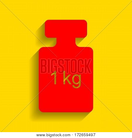 Weight simple sign. Vector. Red icon with soft shadow on golden background.