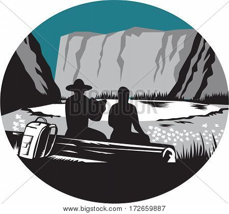 Ilustration of two campers sitting on a log one is reading and the other is female with backpack leaning against the log backdrop is meadow small glacier lake framed in steep cliffs set inside oval shape done in retro woodcut style.