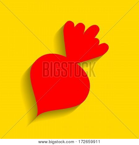 Beet simple sign. Vector. Red icon with soft shadow on golden background.