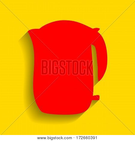 Electric kettle sign. Vector. Red icon with soft shadow on golden background.