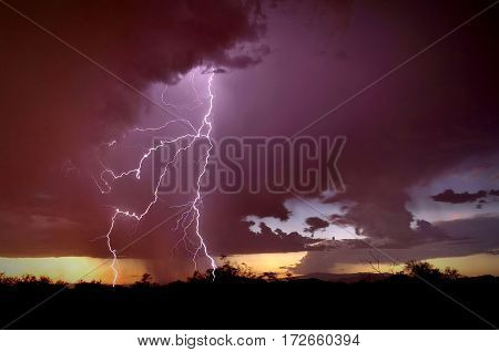 The Power of God in a lightning strike in the Sonoran Desert of Phoenix Arizona with a dark purple sky and black foreground silhouette.