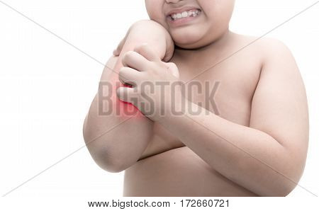 Obese Fat Boy Scratch The Itch With Hand. Itching Isolated On White Background,