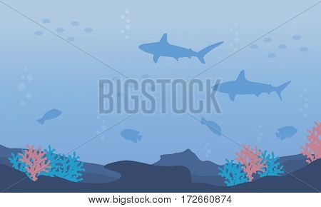 Nature underwater design vector flat collection stock