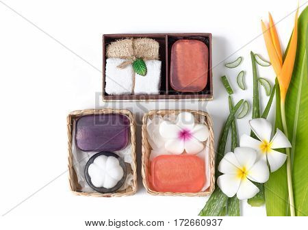 soap spa gift box isolated on white background healthy care concept