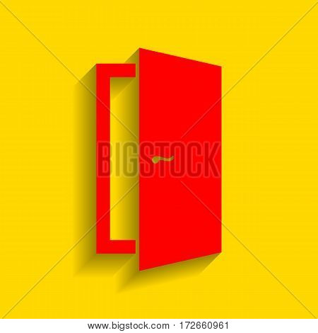 Door sign illustration. Vector. Red icon with soft shadow on golden background.