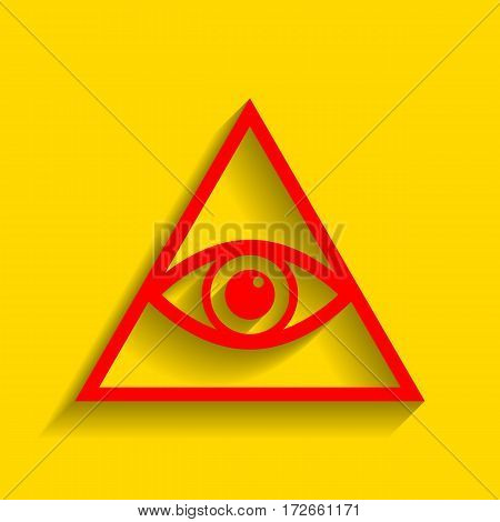 All seeing eye pyramid symbol. Freemason and spiritual. Vector. Red icon with soft shadow on golden background.