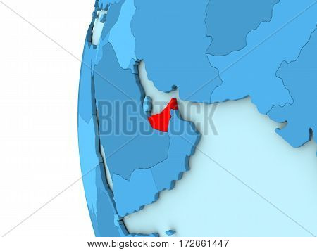 United Arab Emirates On Blue Globe