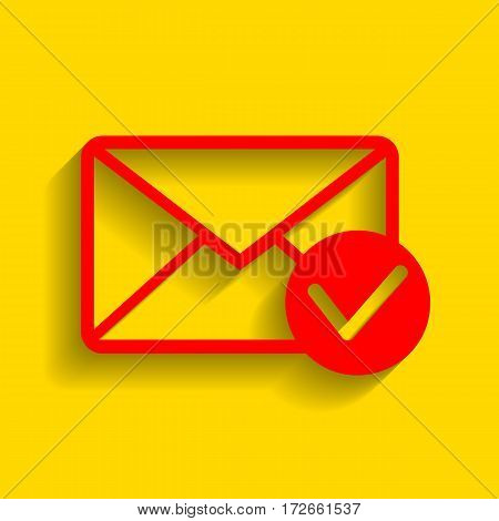 Mail sign illustration with allow mark. Vector. Red icon with soft shadow on golden background.