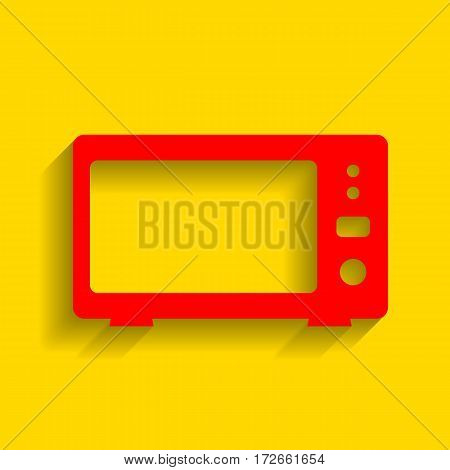 Microwave sign illustration. Vector. Red icon with soft shadow on golden background.