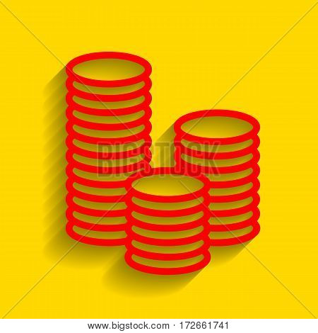 Money sign illustration. Vector. Red icon with soft shadow on golden background.