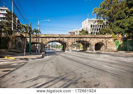 GUATEMALA CITY, GUATEMALA-DEC 25, 2015: Puente de la Pinitenciaria railway bridge in Guatemala city on Dec 25, 2015, Guatemala.
