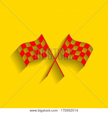 Crossed checkered flags logo waving in the wind conceptual of motor sport. Vector. Red icon with soft shadow on golden background.