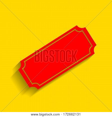 Ticket sign illustration. Vector. Red icon with soft shadow on golden background.
