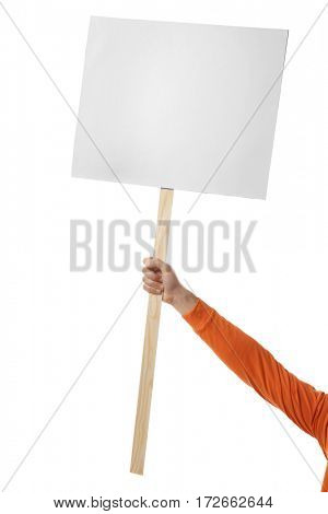 Male hand holding blank banner on wooden stick against white background
