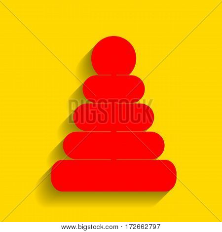 Pyramid sign illustration. Vector. Red icon with soft shadow on golden background.
