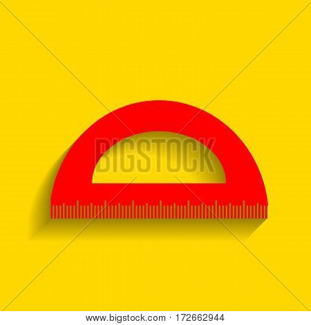 Ruler sign illustration. Vector. Red icon with soft shadow on golden background.