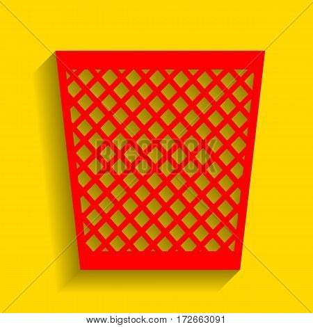 Trash sign illustration. Vector. Red icon with soft shadow on golden background.