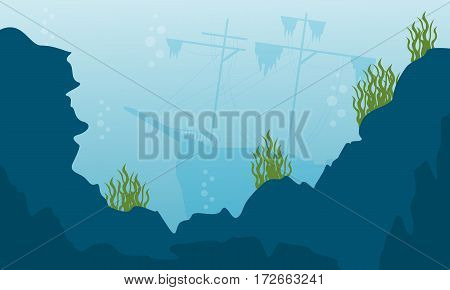 Beauty landcape of underwater vector flat collection stock