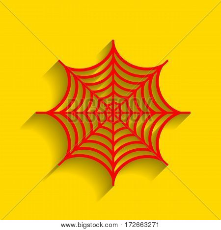 Spider on web illustration. Vector. Red icon with soft shadow on golden background.