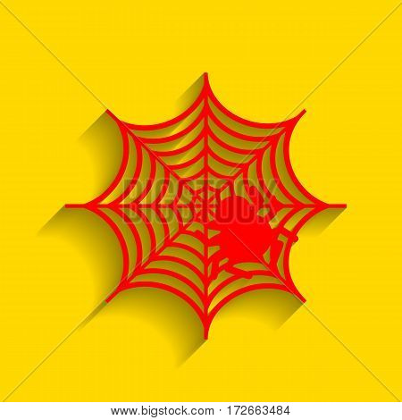 Spider on web illustration Vector. Red icon with soft shadow on golden background.