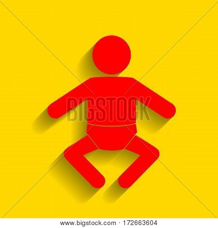 Baby sign illustration. Vector. Red icon with soft shadow on golden background.