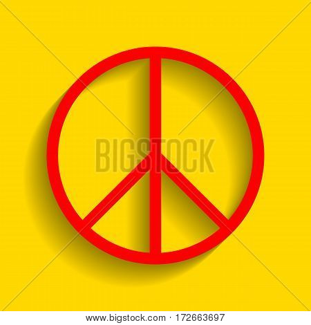 Peace sign illustration. Vector. Red icon with soft shadow on golden background.