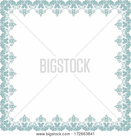 Classic vector square frame with arabesques and orient elements. Abstract ornament with place for text. Vintage pattern