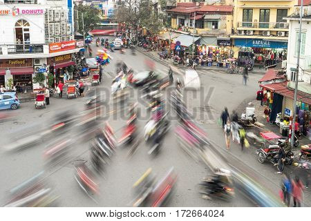 Hanoi Vietnam - February 15 2017: Aerial view of traffic jam in rush hour crowd of citizen transport at old quarter in Hanoi Vietnam