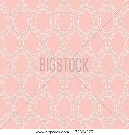 Seamless vector ornament. Modern background. Geometric pattern with repeating dotted wavy lines