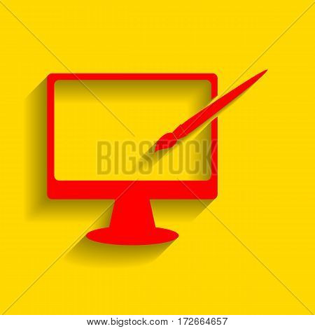 Monitor with brush sign. Vector. Red icon with soft shadow on golden background.