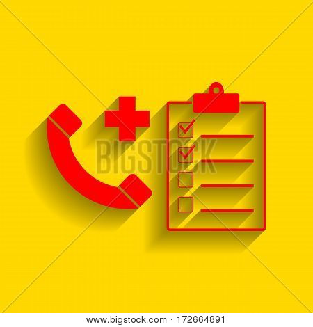 Medical consultration sign. Vector. Red icon with soft shadow on golden background.