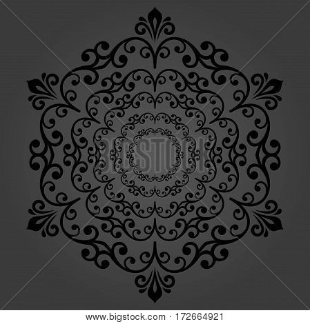 Elegant vector black round ornament in classic style. Abstract traditional pattern with oriental elements, Classic vintage pattern