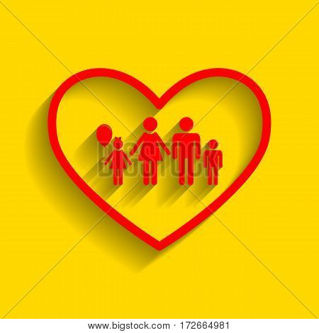 Family sign illustration in heart shape. Vector. Red icon with soft shadow on golden background.