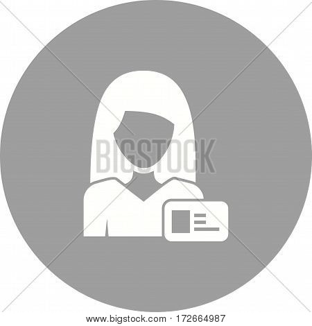 Woman, card, business icon vector image. Can also be used for women. Suitable for mobile apps, web apps and print media.