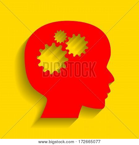 Thinking head sign. Vector. Red icon with soft shadow on golden background.