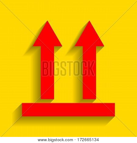Logistic sign of arrows. Vector. Red icon with soft shadow on golden background.