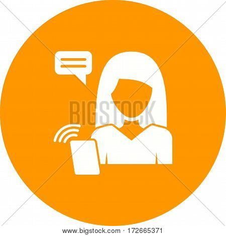 Phone, call, women icon vector image. Can also be used for women. Suitable for use on web apps, mobile apps and print media