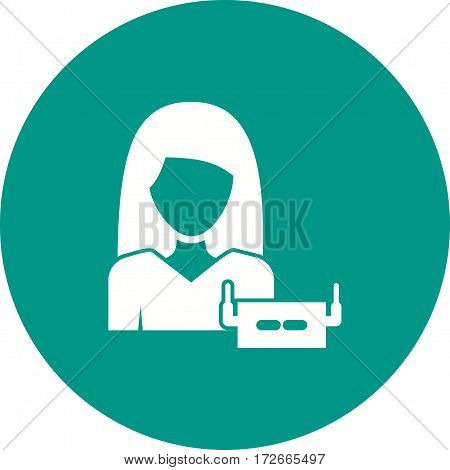 Woman, technology, phone icon vector image. Can also be used for women. Suitable for mobile apps, web apps and print media.