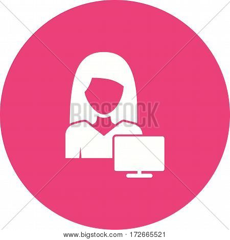 Woman, career, business icon vector image. Can also be used for women. Suitable for mobile apps, web apps and print media.