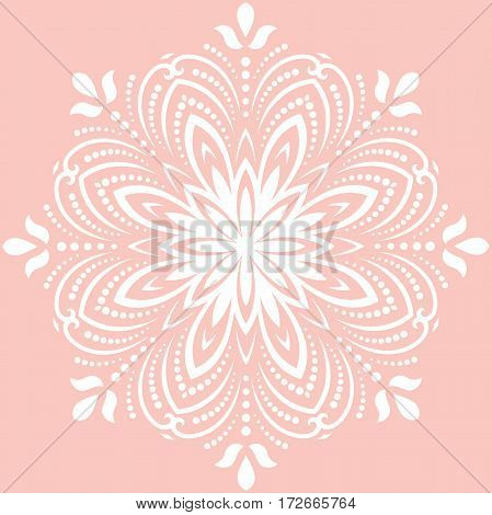 Floral vector round white pattern with arabesques. Abstract oriental ornament. Vintage classic pattern