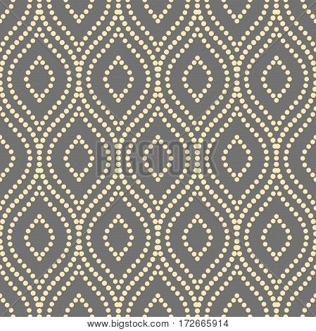 Seamless vector ornament. Modern background. Geometric pattern with repeating golden dotted elements