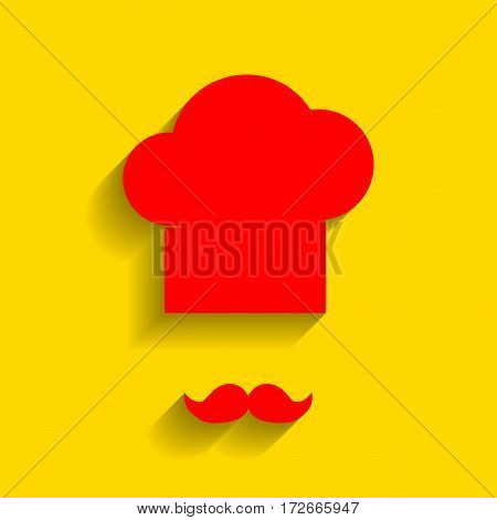 Chef hat and moustache sign. Vector. Red icon with soft shadow on golden background.