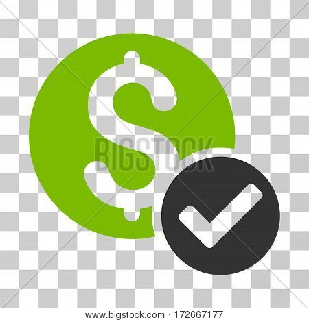 Approved Payment icon. Vector illustration style is flat iconic bicolor symbol eco green and gray colors transparent background. Designed for web and software interfaces.